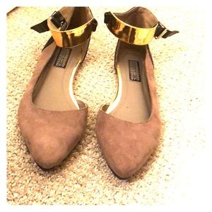 Grey Flats with gold ankle cuff